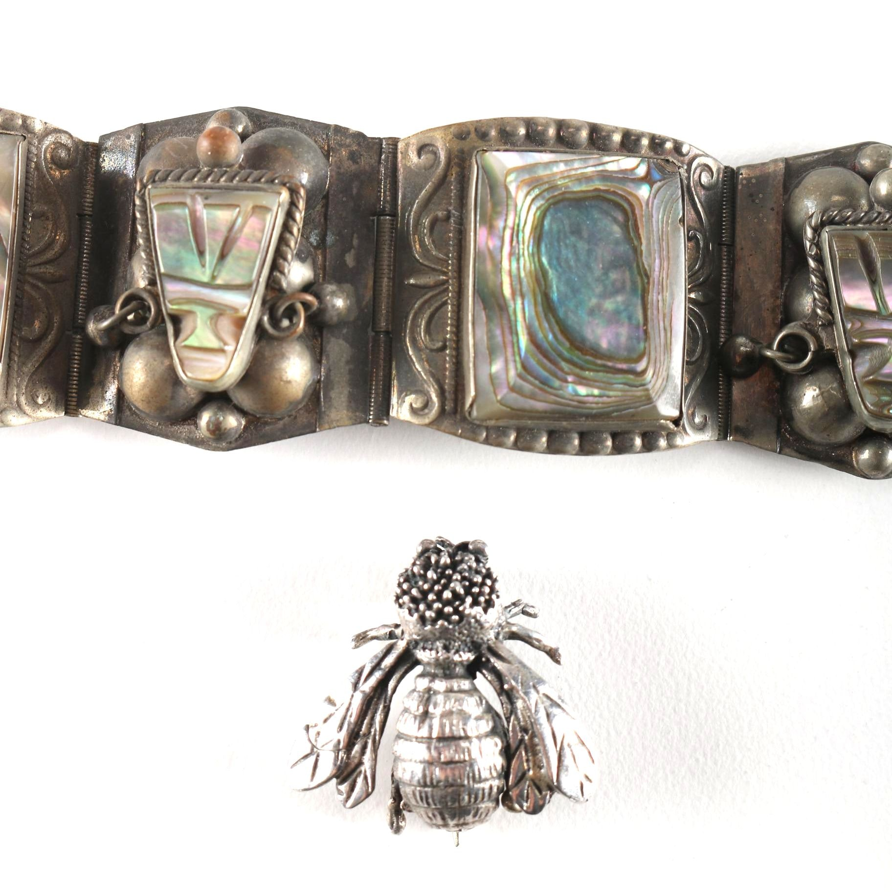 Mexican Sterling Abalone Inlay Bracelet and Bee Brooch