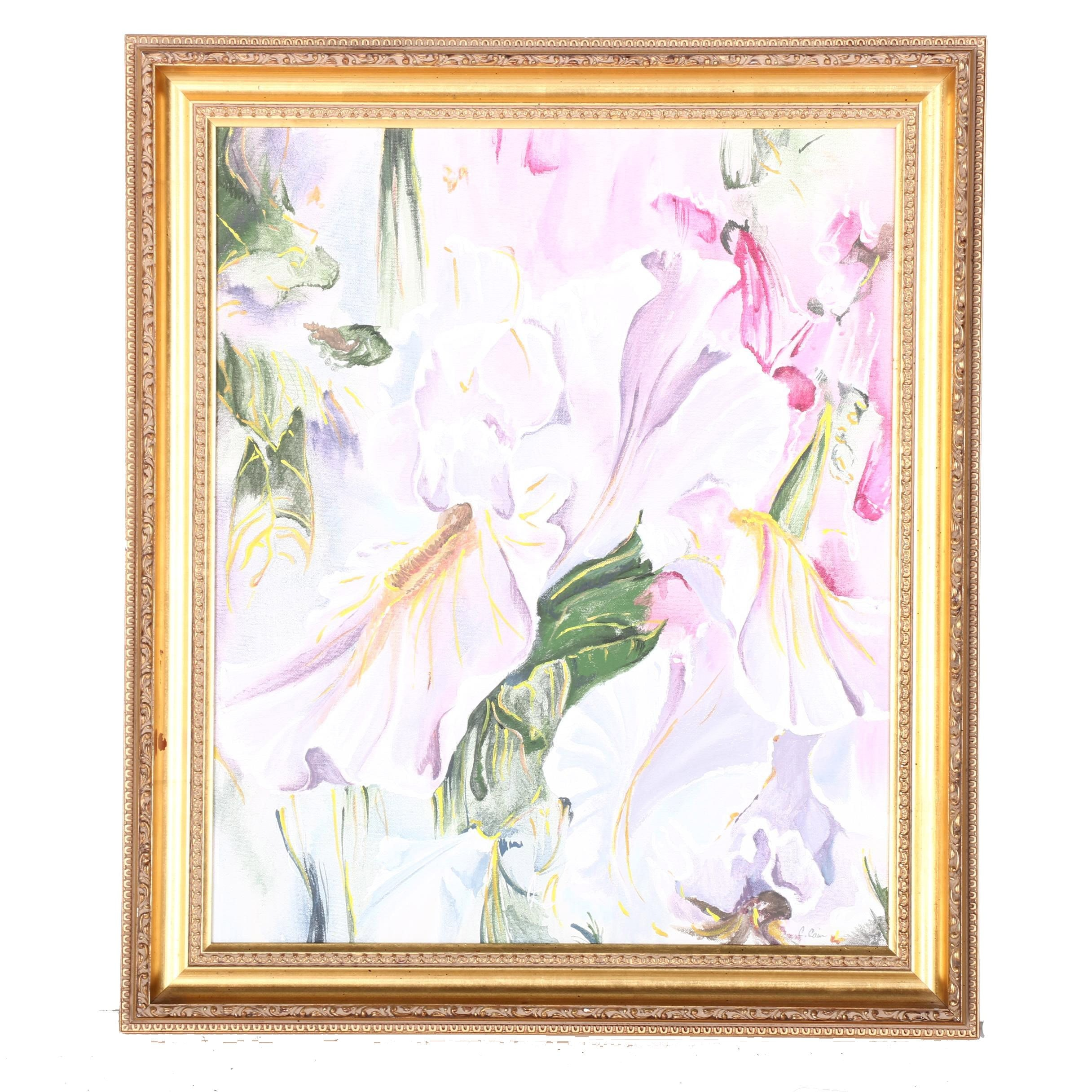 C. Cain Original Acrylic on Canvas Painting of Flowers