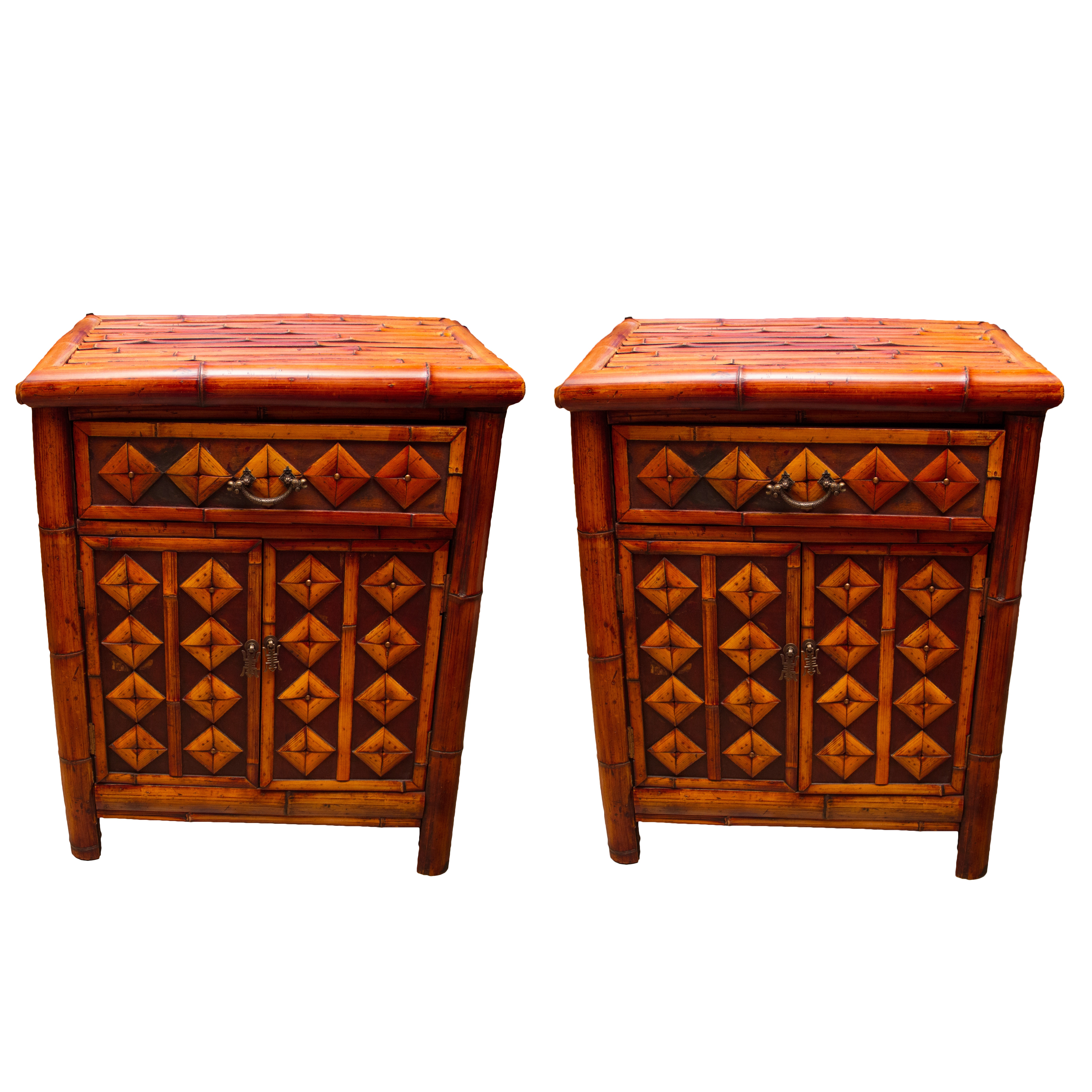 Asian  Bamboo Style Nightstands