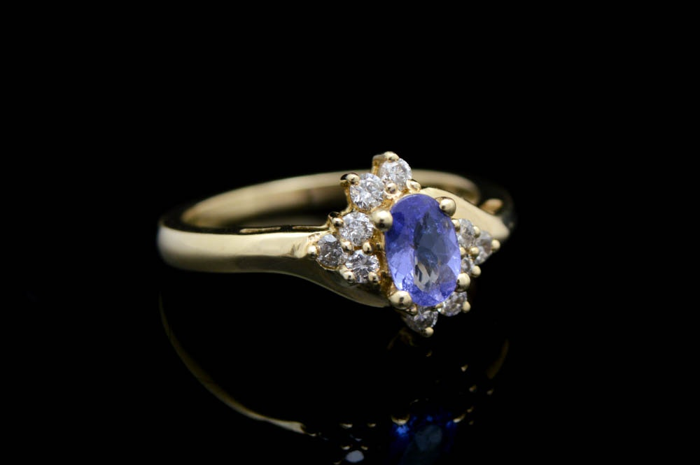 0.20 CTW Diamond and Tanzanite 14K Yellow Gold Ring