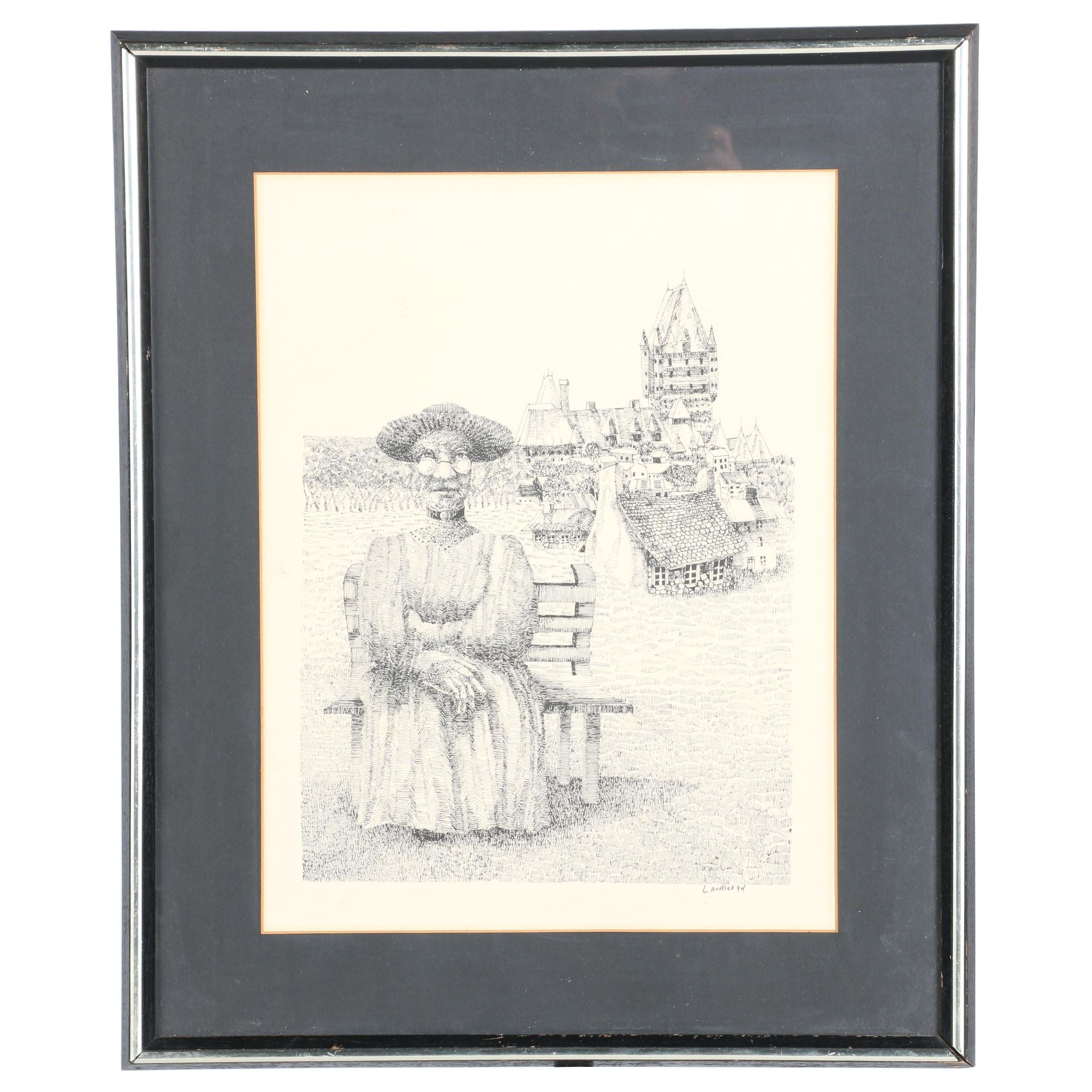 Laurier Signed Lithograph on Paper of an Ink Drawing of a Woman