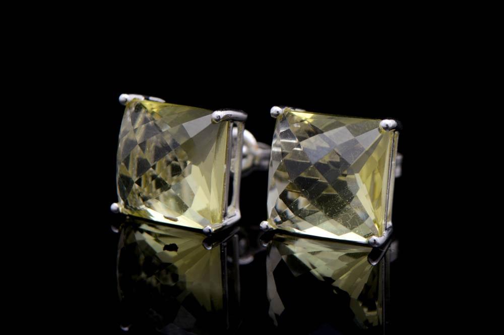 18K White Gold and Lemon Quartz Earrings