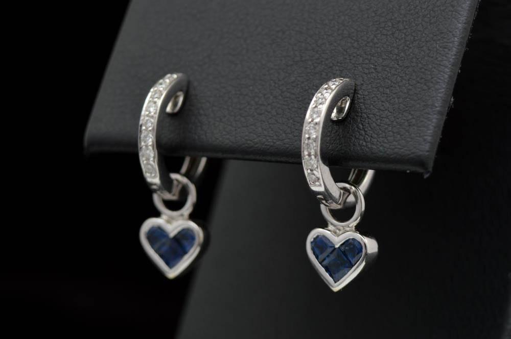 0.20 CTW Diamond, Blue Sapphire and 18K White Gold Earrings