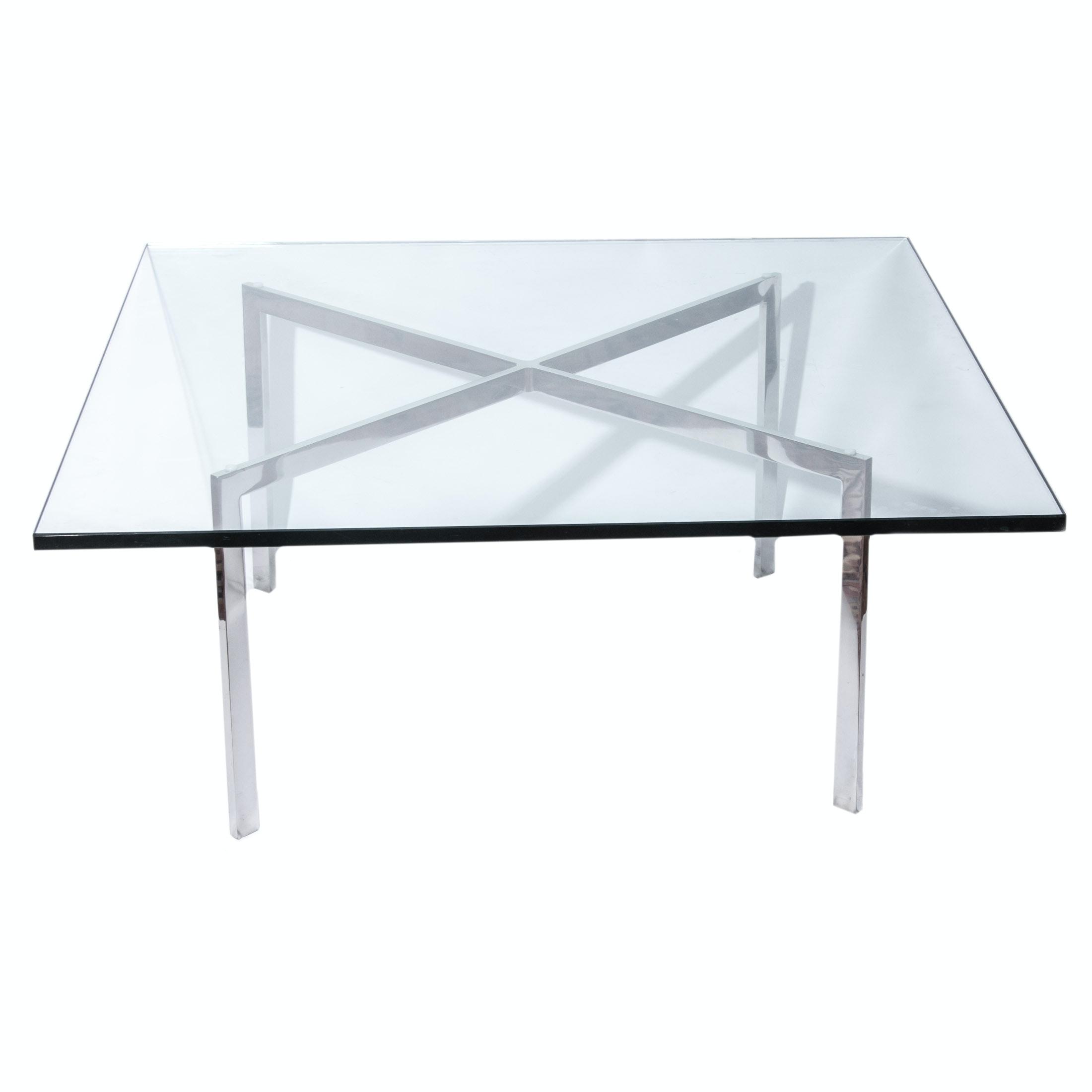 barcelona style glass top coffee table : ebth