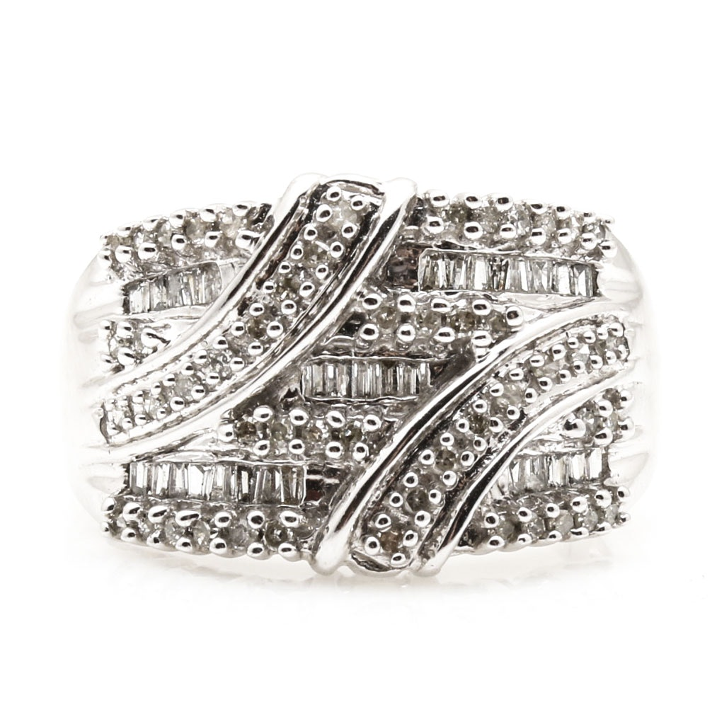 10K White Gold Ring With Diamonds