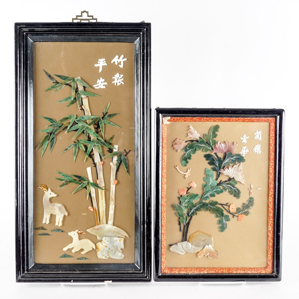Pair of Chinese Mother-of-Pearl and Carved Stone Pictures