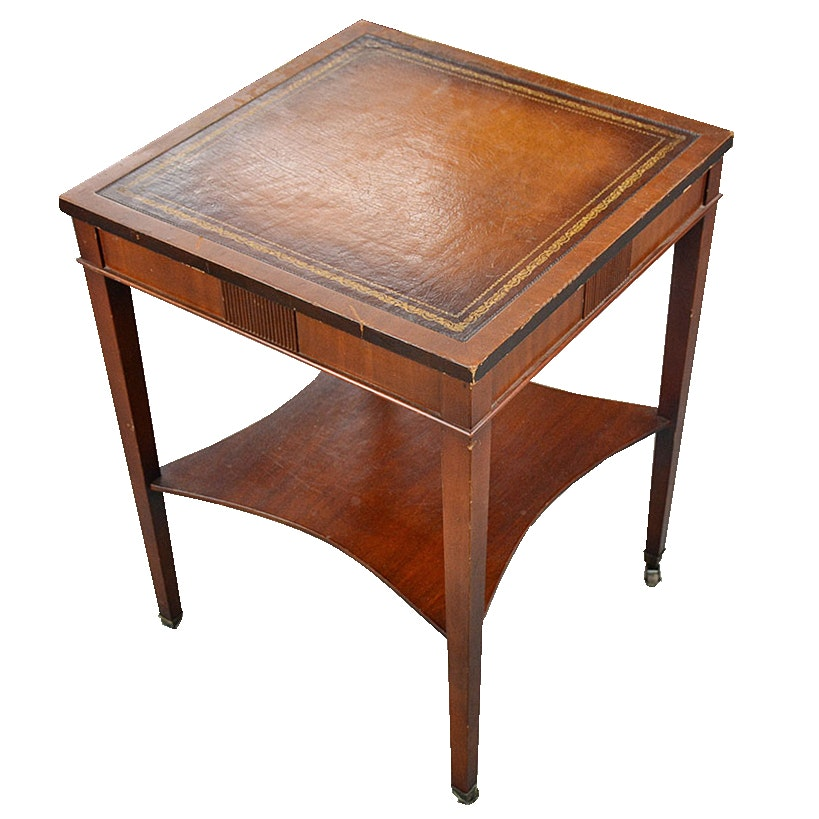 Faux Leather Top End Table ...