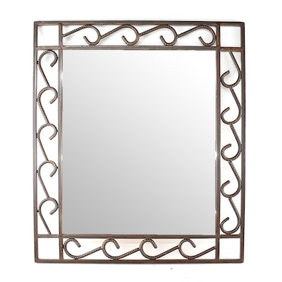 Industrial style metal frame wall mirror ebth for Metal frame mirror