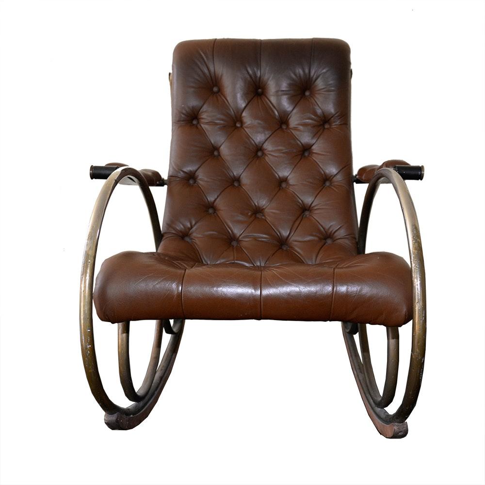 Merveilleux Brown Leather Rocking Chair ...
