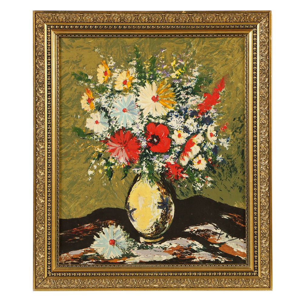 """Framed Oil Painting on Canvas """"Bouquet of Flowers"""""""