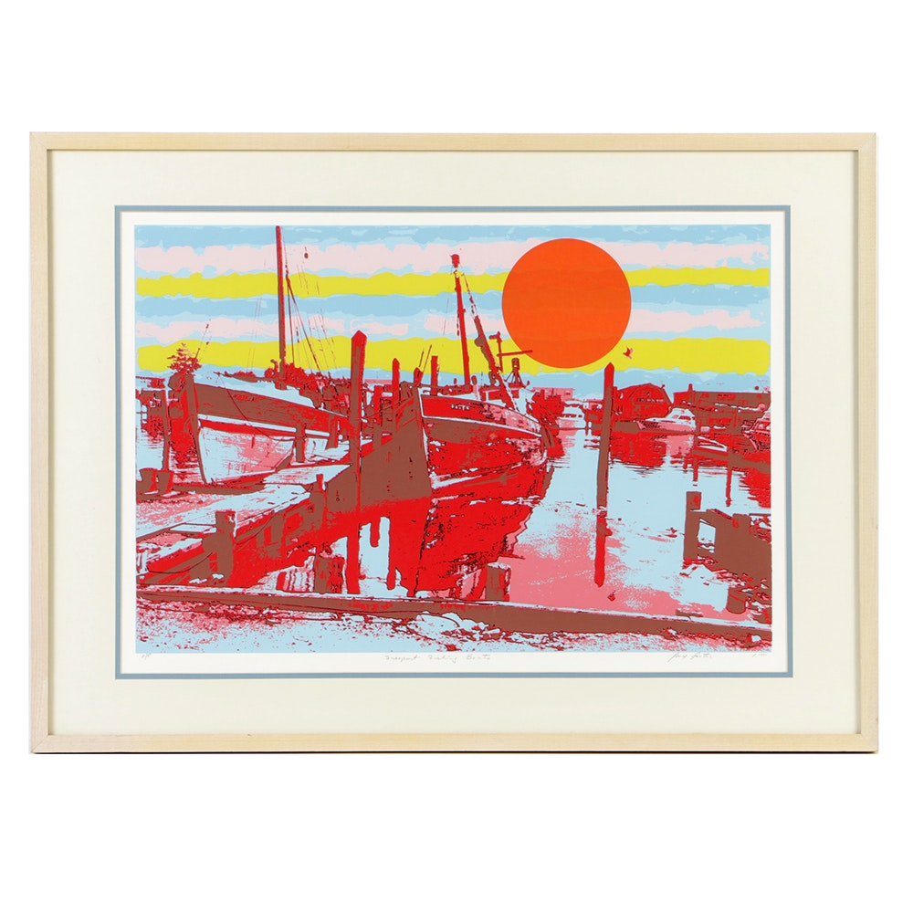 """Max Epstein Artist Proof Serigraph on Paper """"Freeport Fishing Boats"""""""