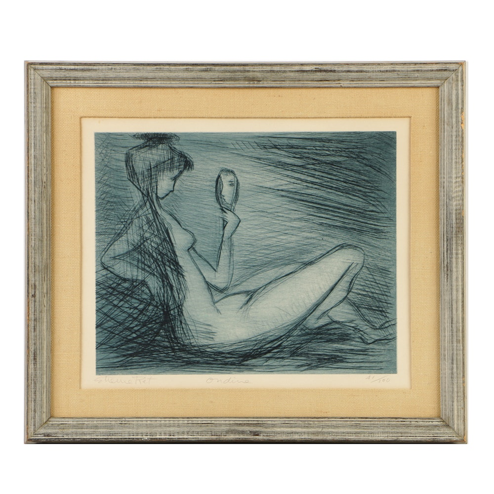 "Etienne Ret Limited Edition Etching on Paper ""Ondine"""
