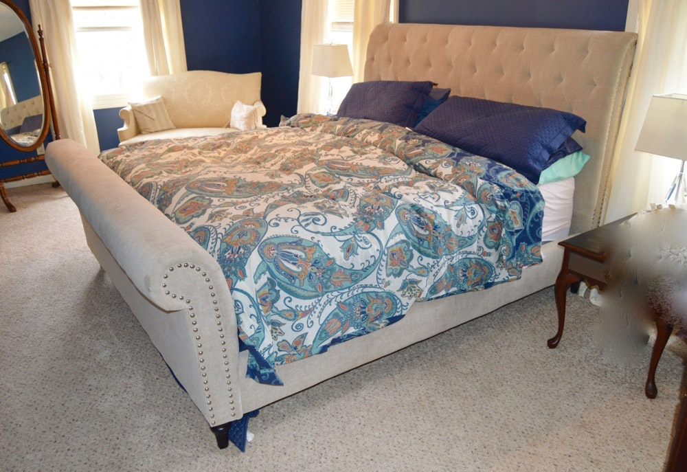 Upholstered King Size Sleigh Bed