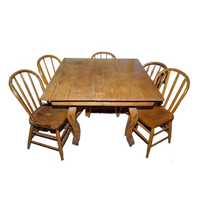 Oak clawfoot kitchen table and six chairs ebth for Table 6 in denver