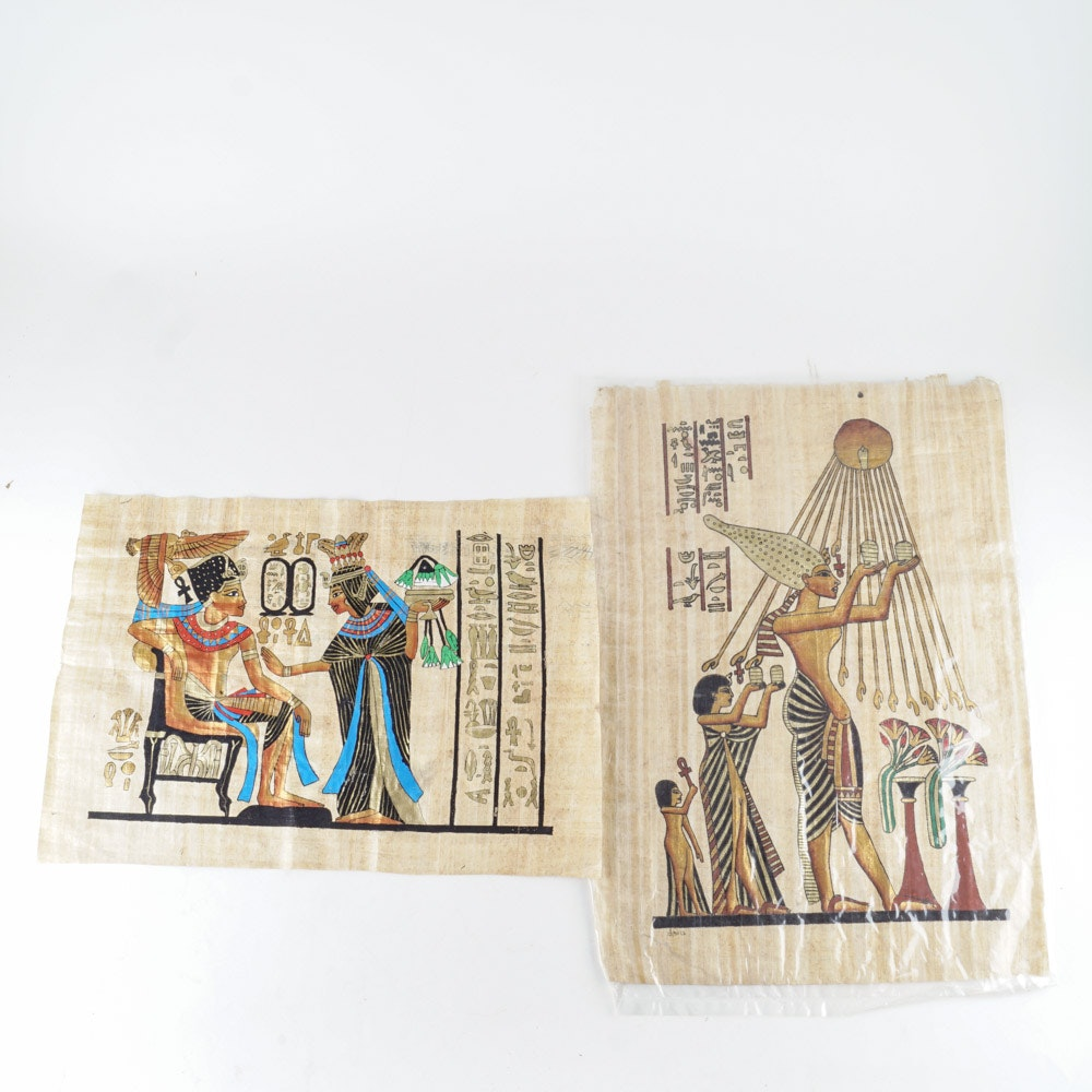Paintings on Papyrus of Ancient Egypt Scenes