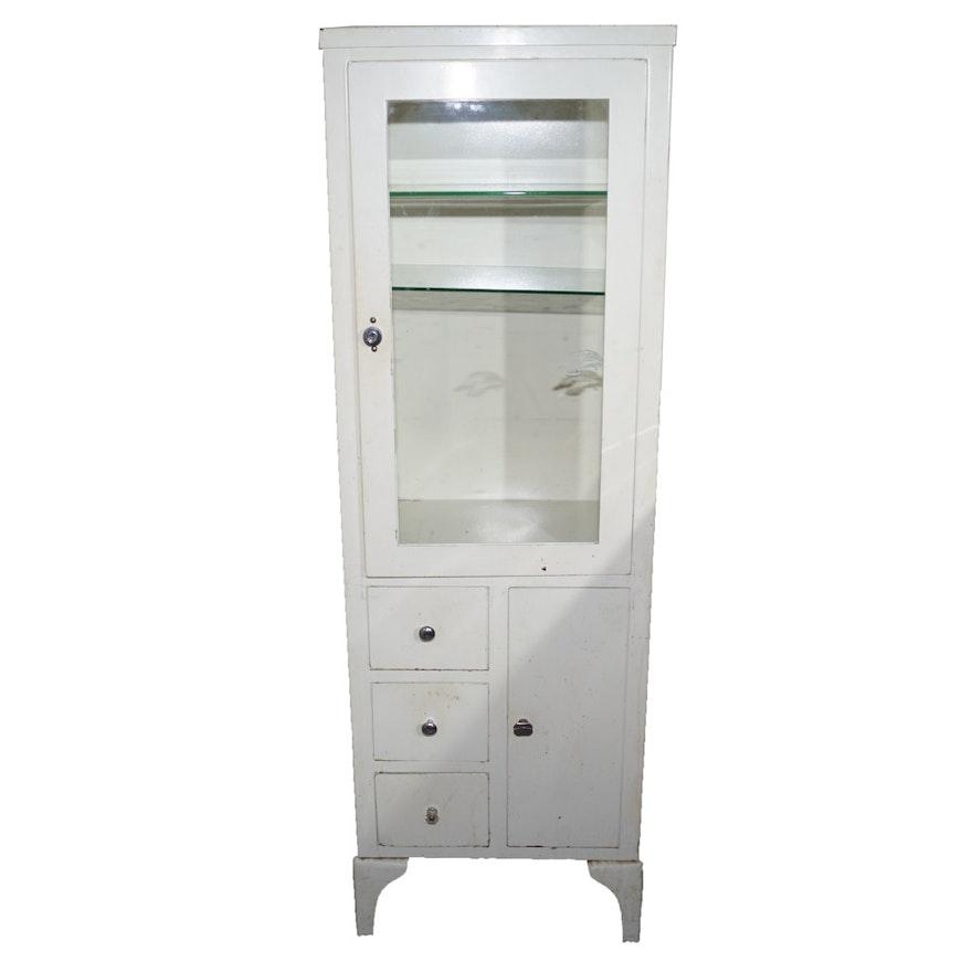 Vintage White Metal Medicine Cabinet