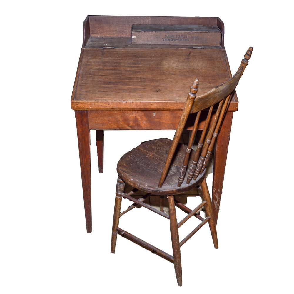 Antique Secretary with Chair