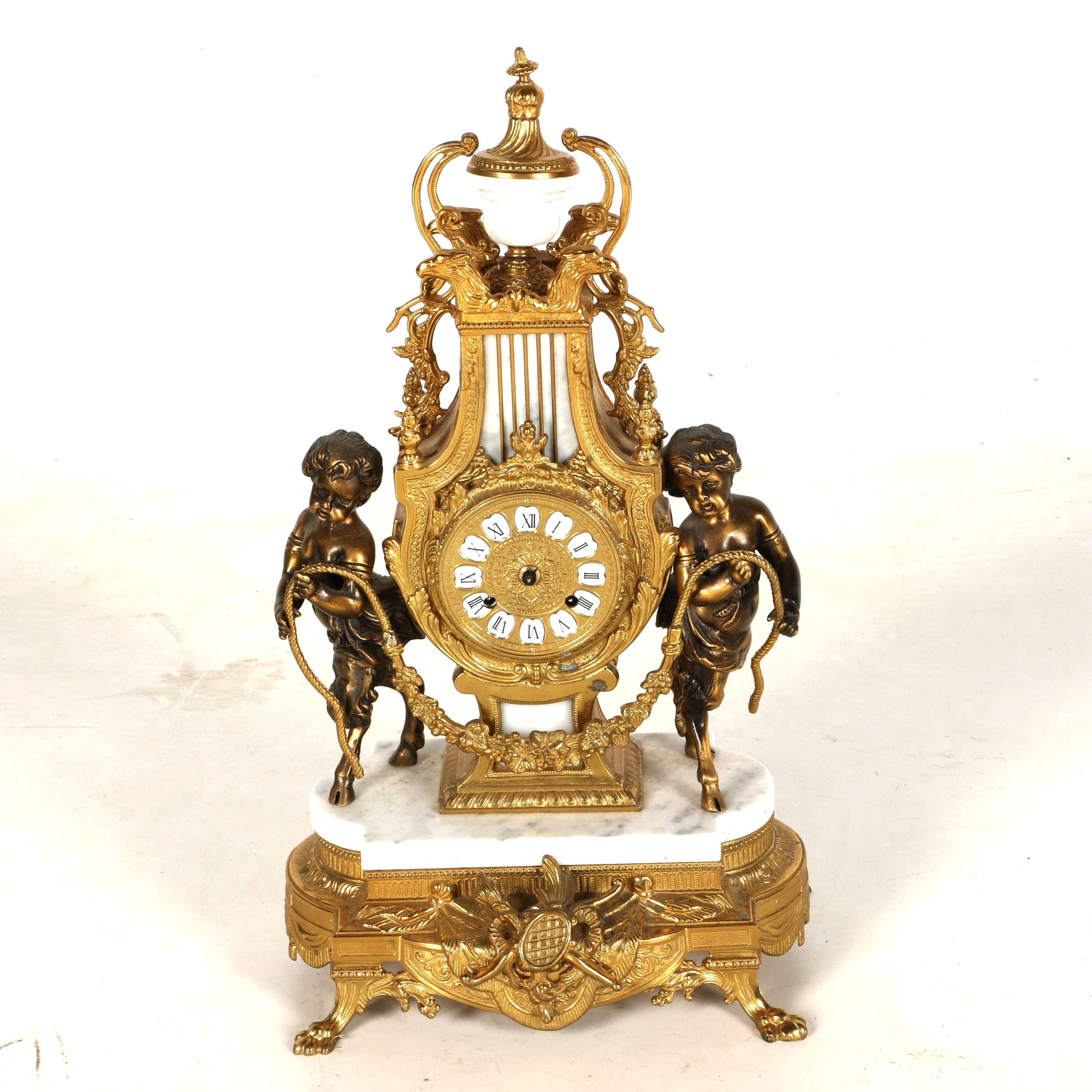 Lancini Italian Brass, Bronze, and Marble Mantle Clock