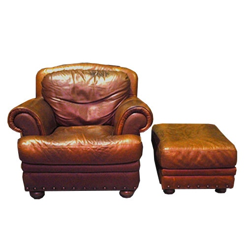 Bon Natuzzi Brown Leather Chair And Ottoman ...