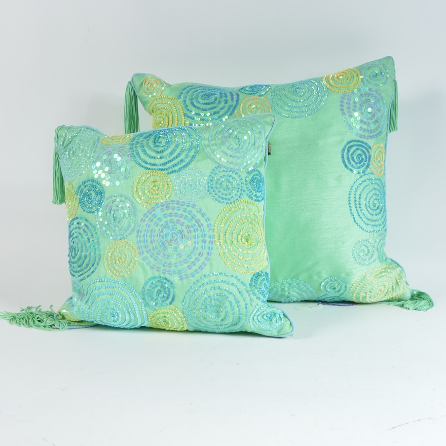 Two Green Decorative Pillows By Borgata EBTH Enchanting Blue And Green Decorative Pillows