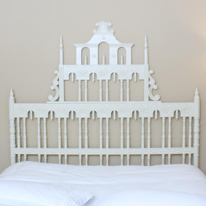 Serena Lily Ornate White Wood Headboard Ebth