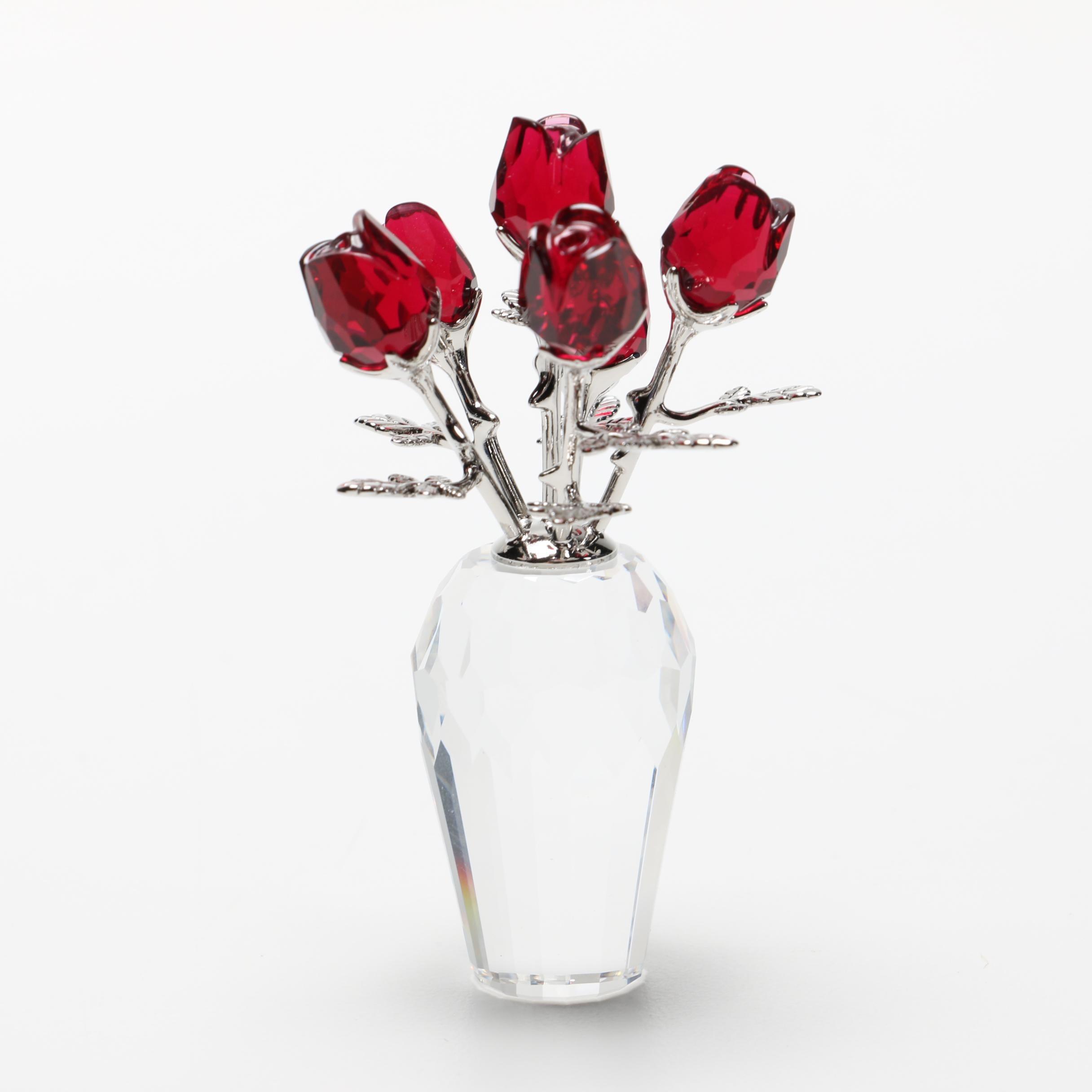 "Swarovski Crystal ""Flower Dreams"" Collection ""Vase of Roses"" Figurine"