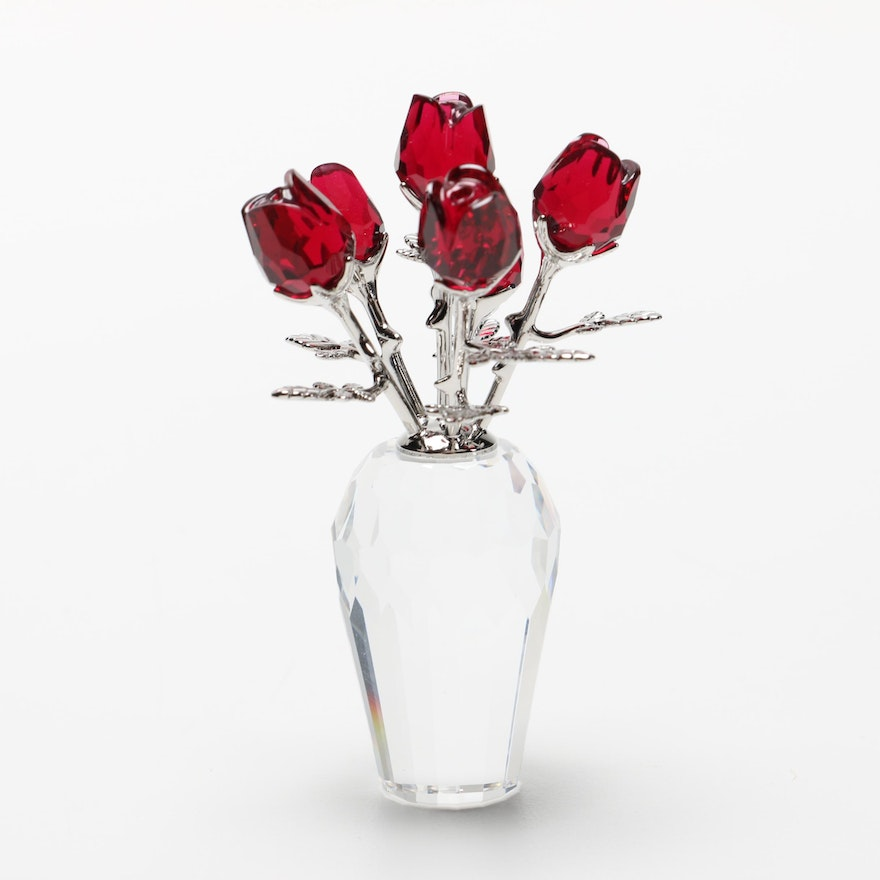 Swarovski Crystal Flower Dreams Collection Vase Of Roses