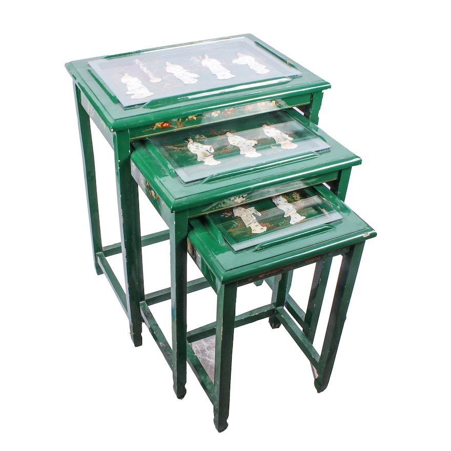 Set of chinese inspired green lacquered nesting tables ebth set of chinese inspired green lacquered nesting tables watchthetrailerfo