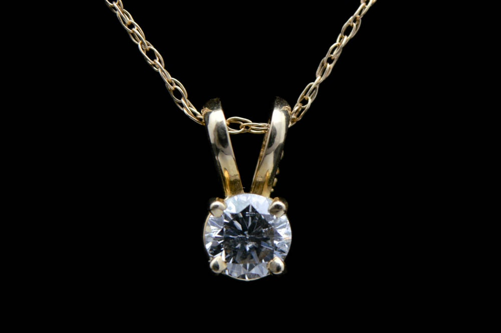 0.23 CT Diamond Solitaire Pendant with Chain