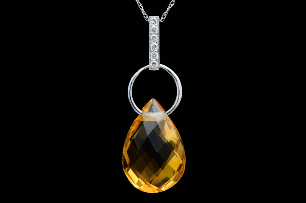 14K White Gold, Citrine and Diamond Pendant with Chain