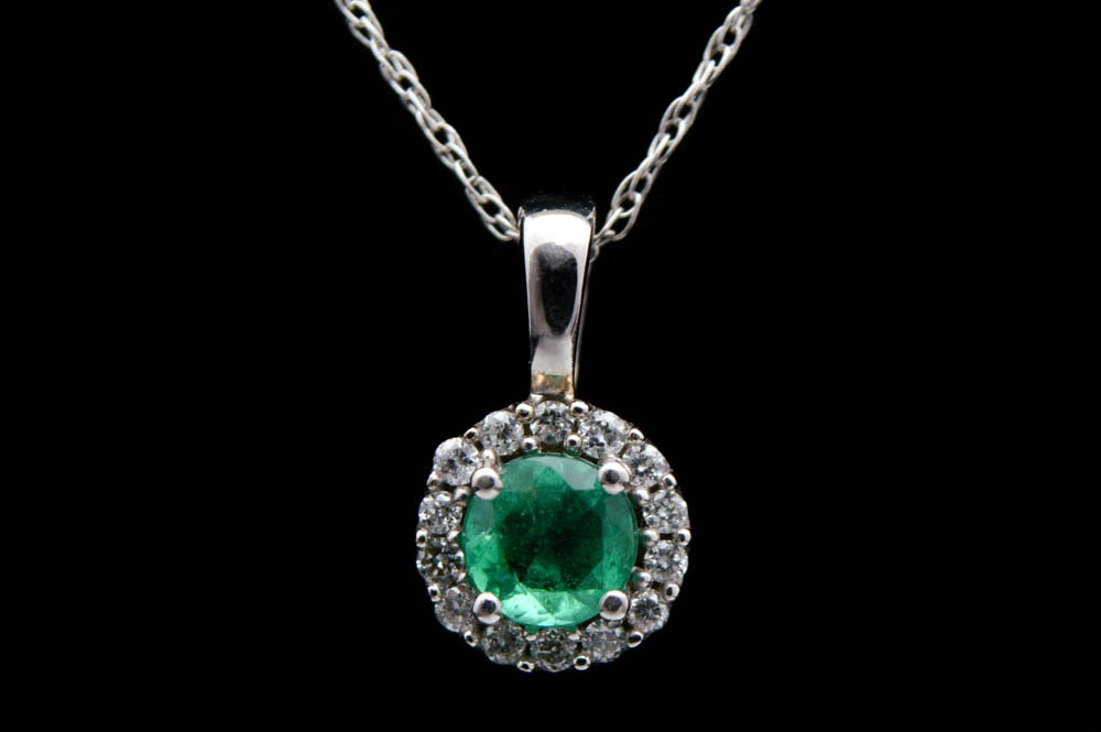 0.23 CT Emerald, Diamond and 14K White Gold Pendant with Chain