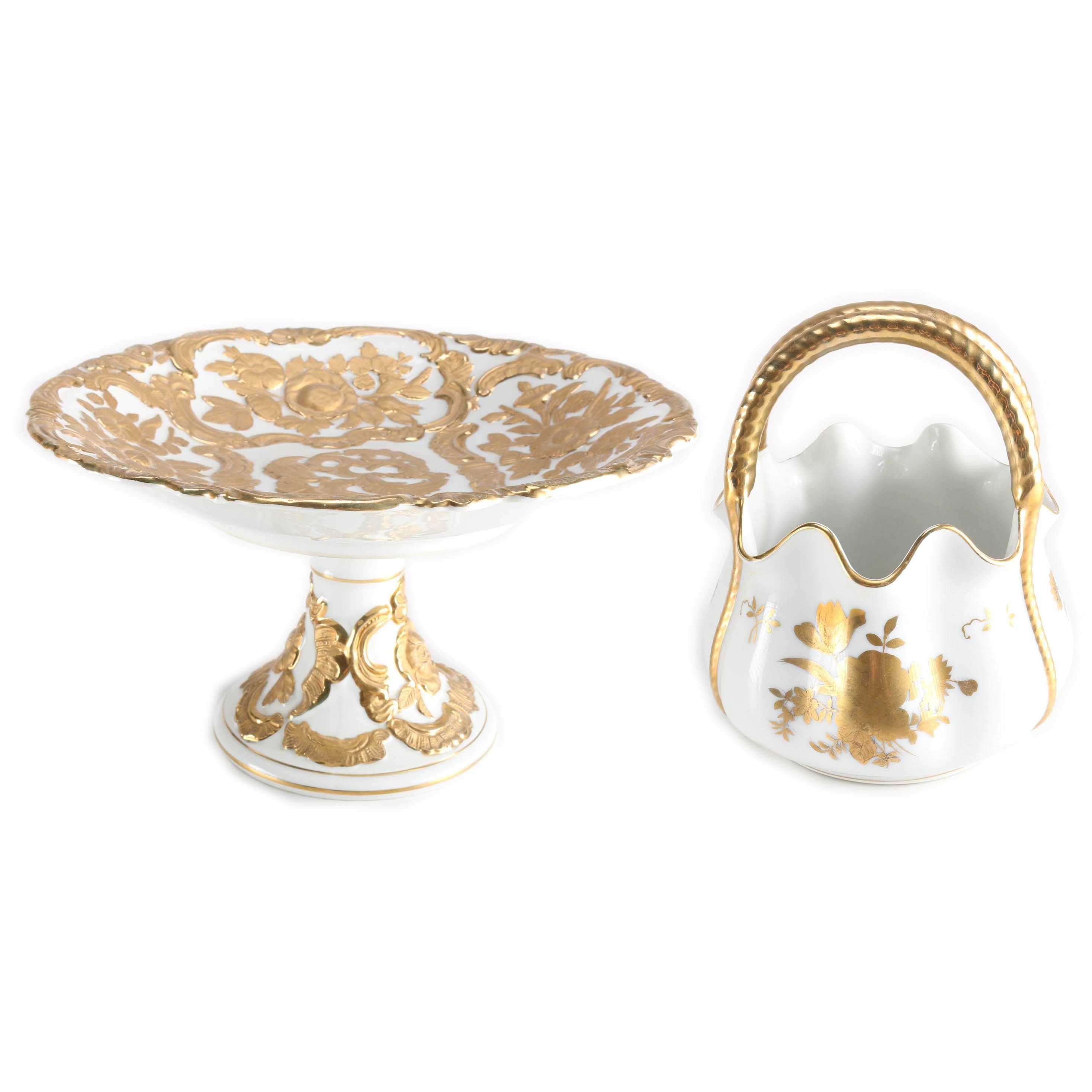 White and Gold Tone Porcelain Décor Featuring Meissen