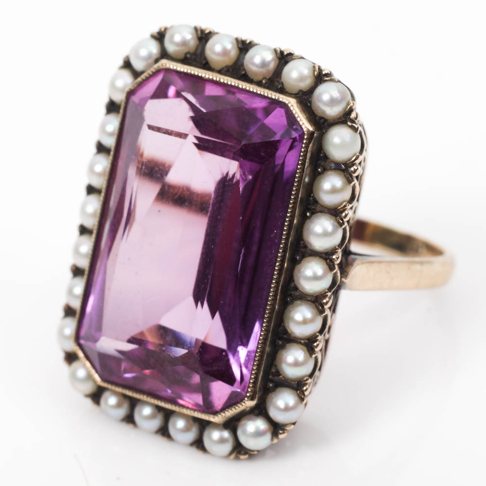 Vintage 10K Gold, Pink Sapphire and Seed Pearl Ring