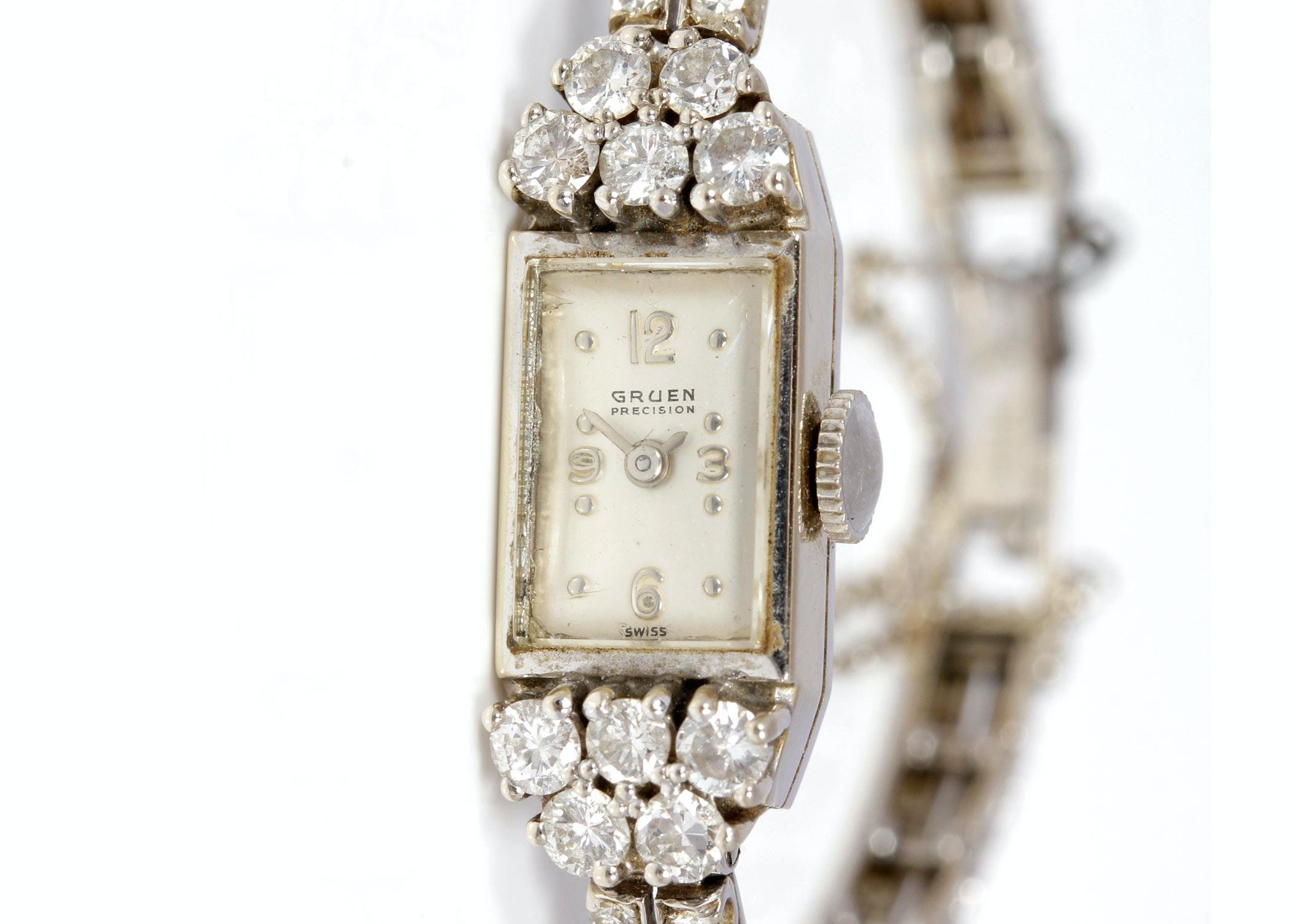 14K White Gold and Diamond Gruen Precision Women's Wristwatch