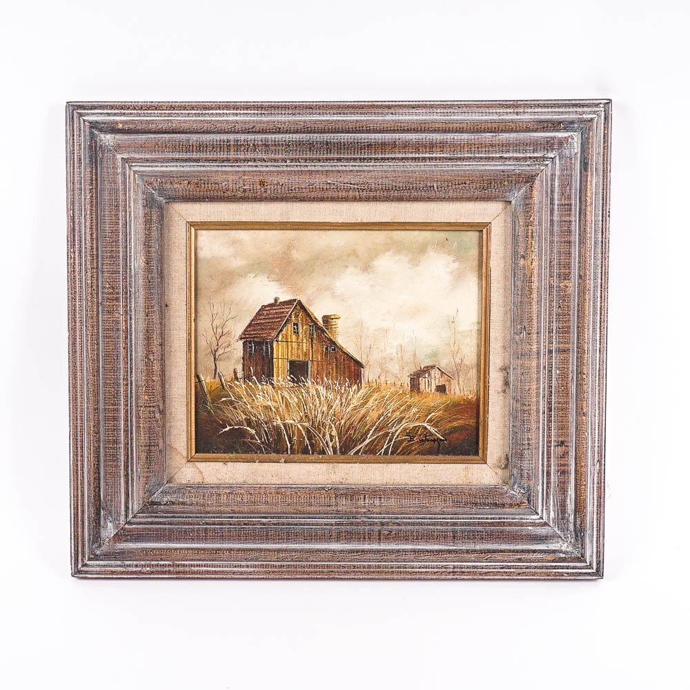 E. Woodson Oil Painting of Barns in Autumn