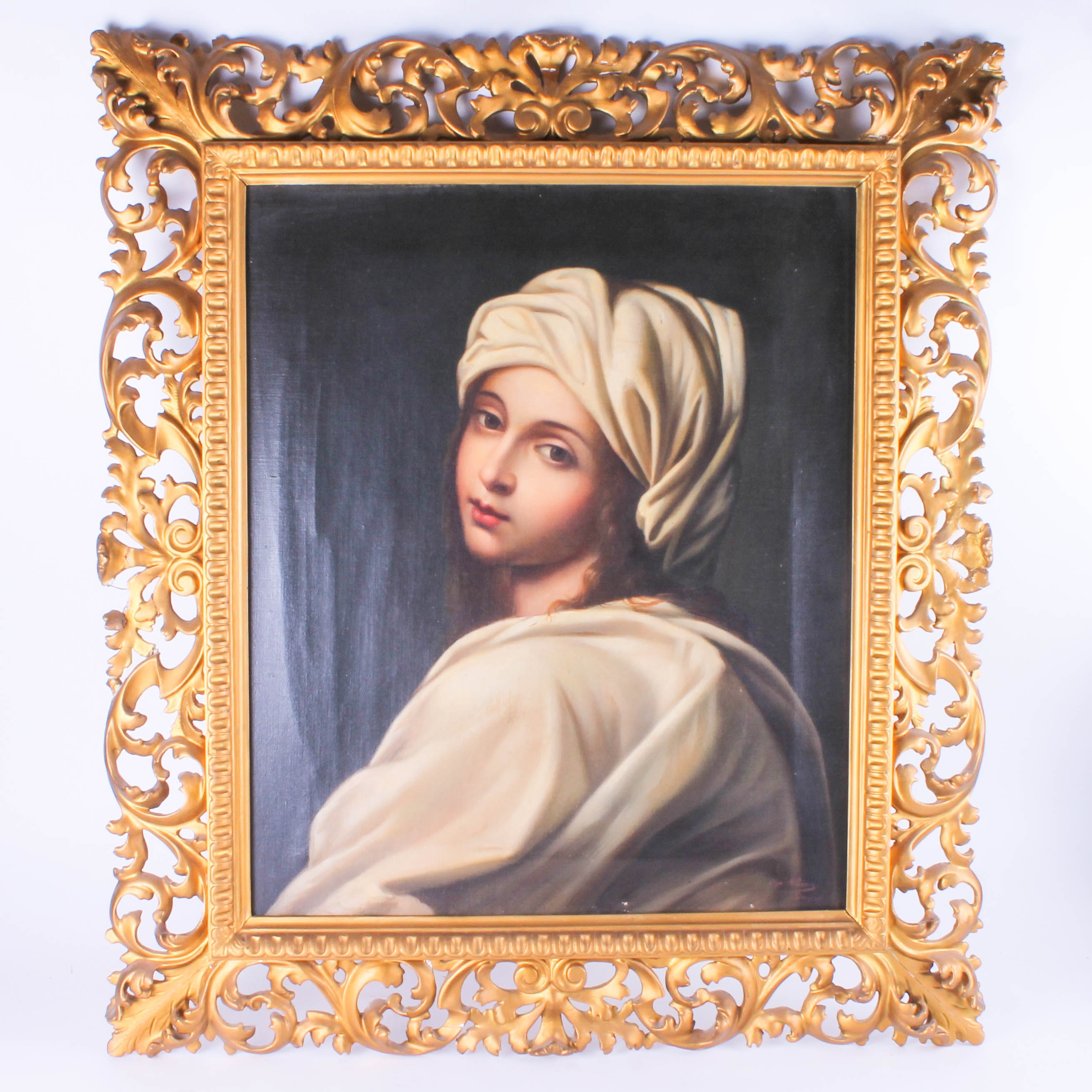 """Early 20th-Century Oil Painting """"Portrait of Beatrice Cenci"""" After Guido Reni"""