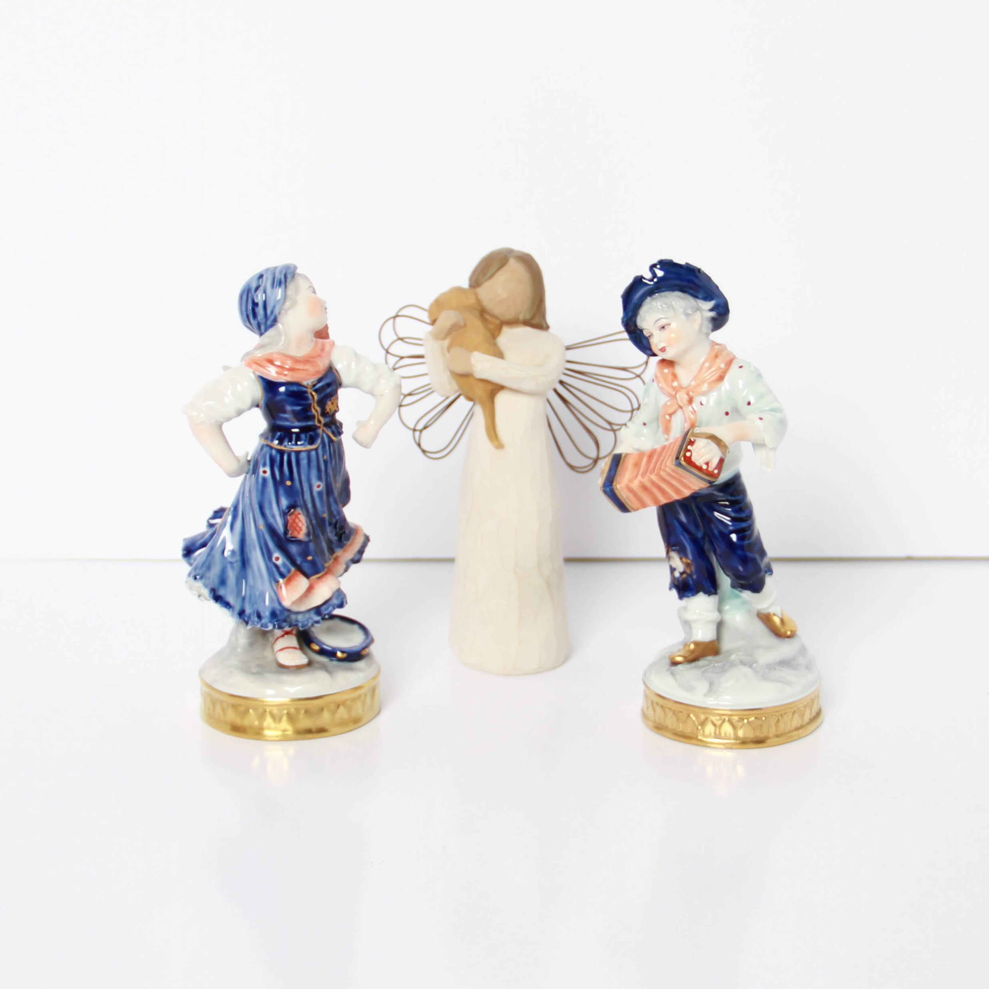 Aelteste Volkstedter Porcelain Figurines and Willow Tree Angel