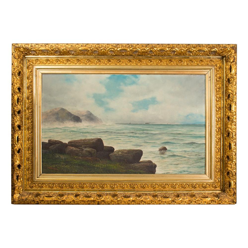Henry A. Duessel Ocean Scene Oil on Canvas