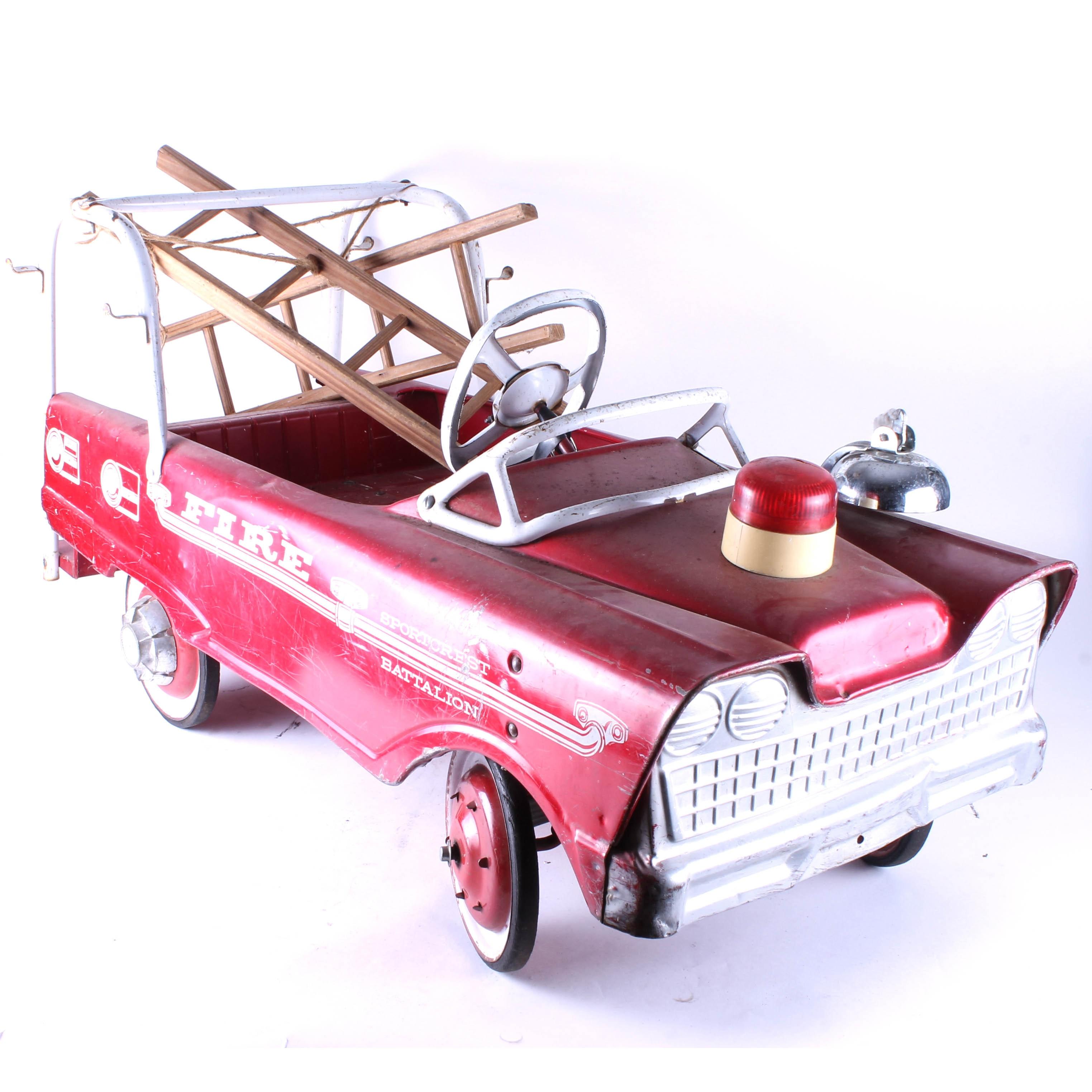 "1950s Murray ""Sportcrest Medallion"" Steel Firetruck Pedal Car"