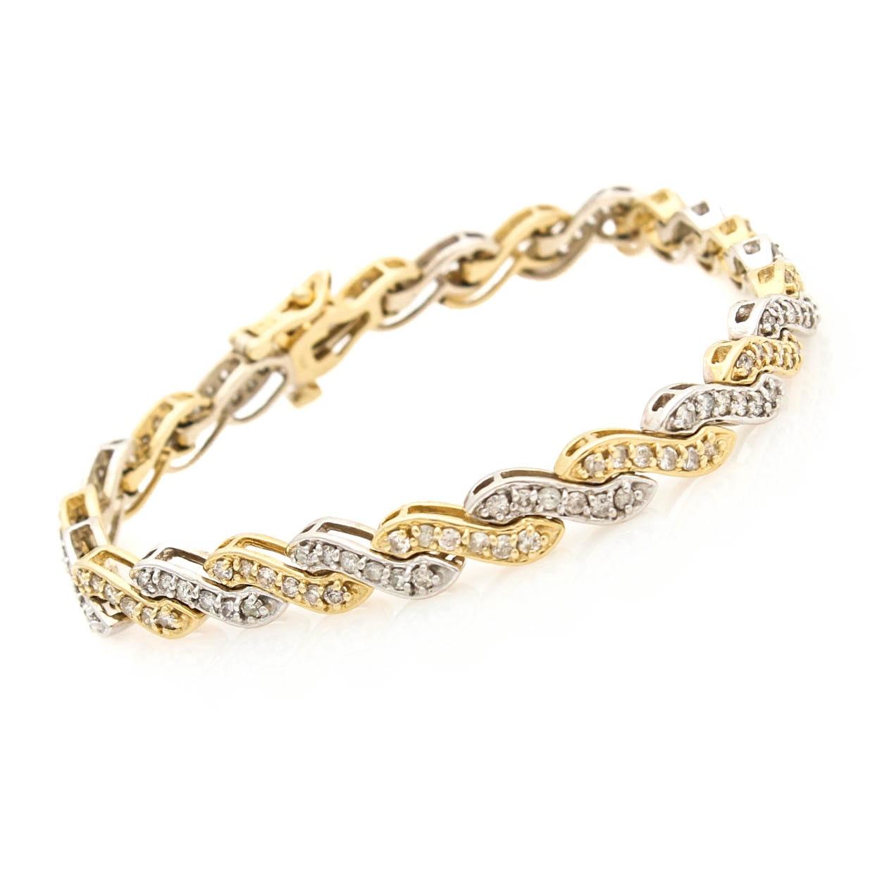 14K White and Yellow Gold 3.00 CTW Diamond Bracelet
