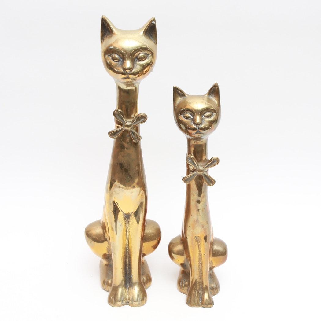 Mid Century Hollywood Regency Brass Cats