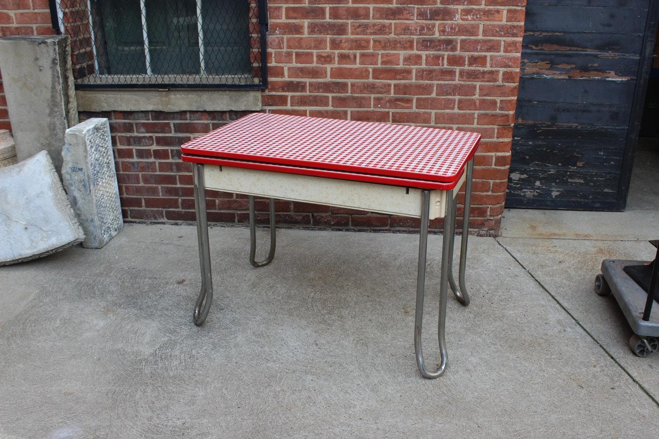 Vintage Expandable Enamel Top Kitchen Table ...