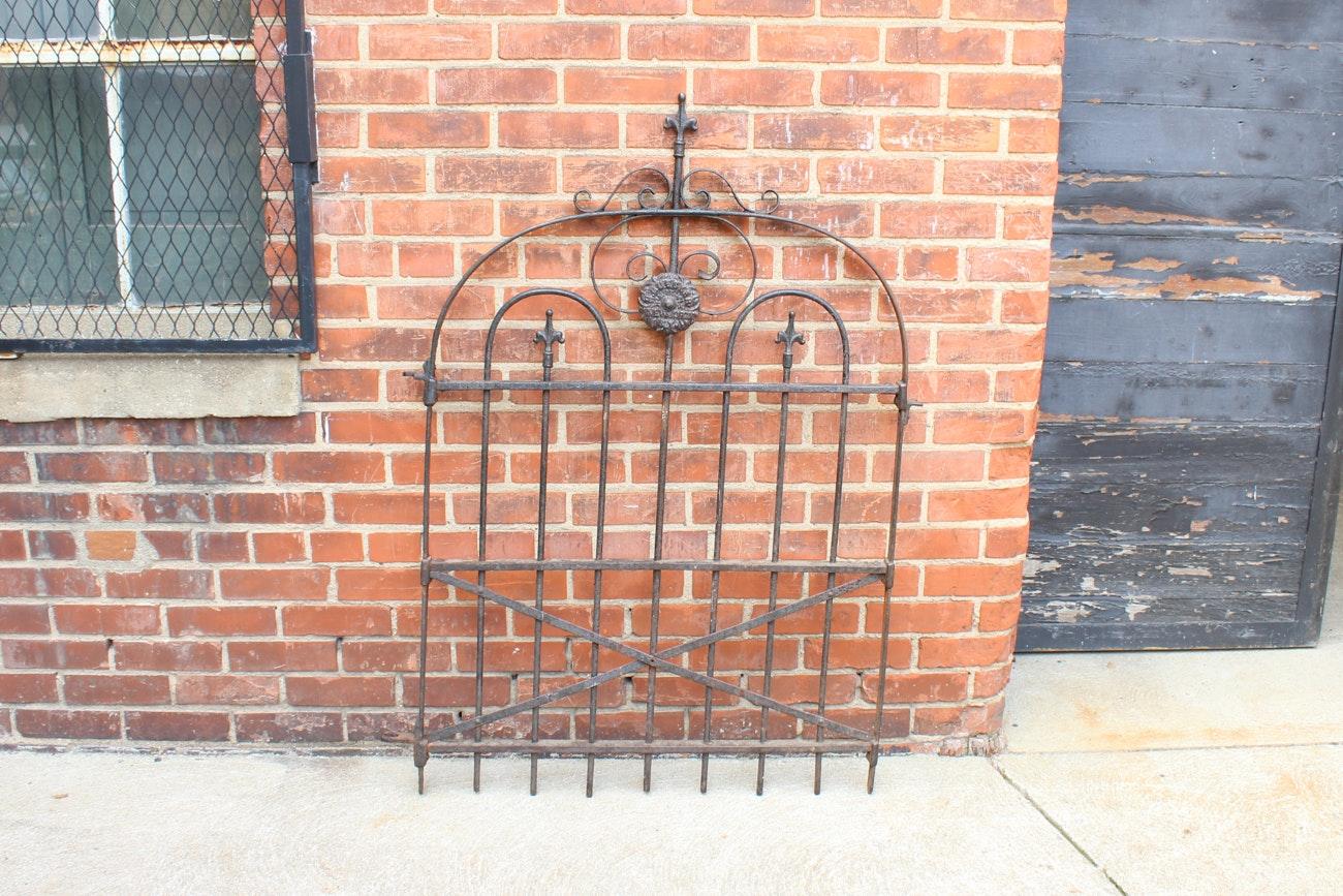 """Antique Wrought Iron """"H. Buecker"""" Garden Gate"""