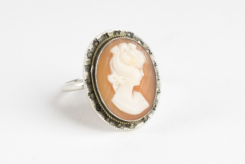 Silver Tone Cameo Ring with Marcasite Accents