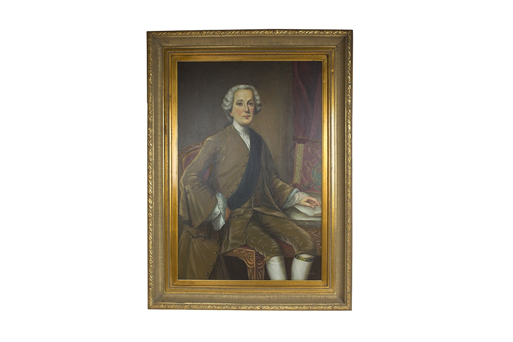 Original Signed Oil on Canvas Portrait of A Gentleman