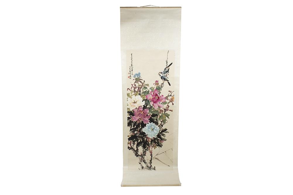 Chinese Watercolor Scroll on Silk by Zhou Mali