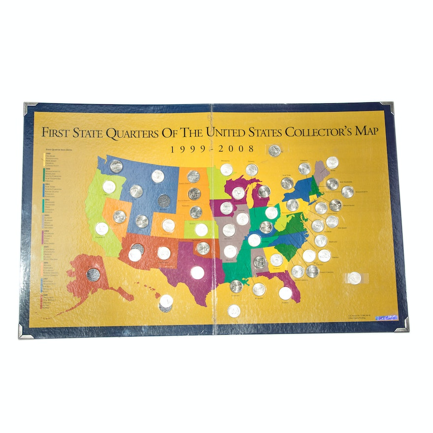First State Quarters of the United States Collector\'s Map\