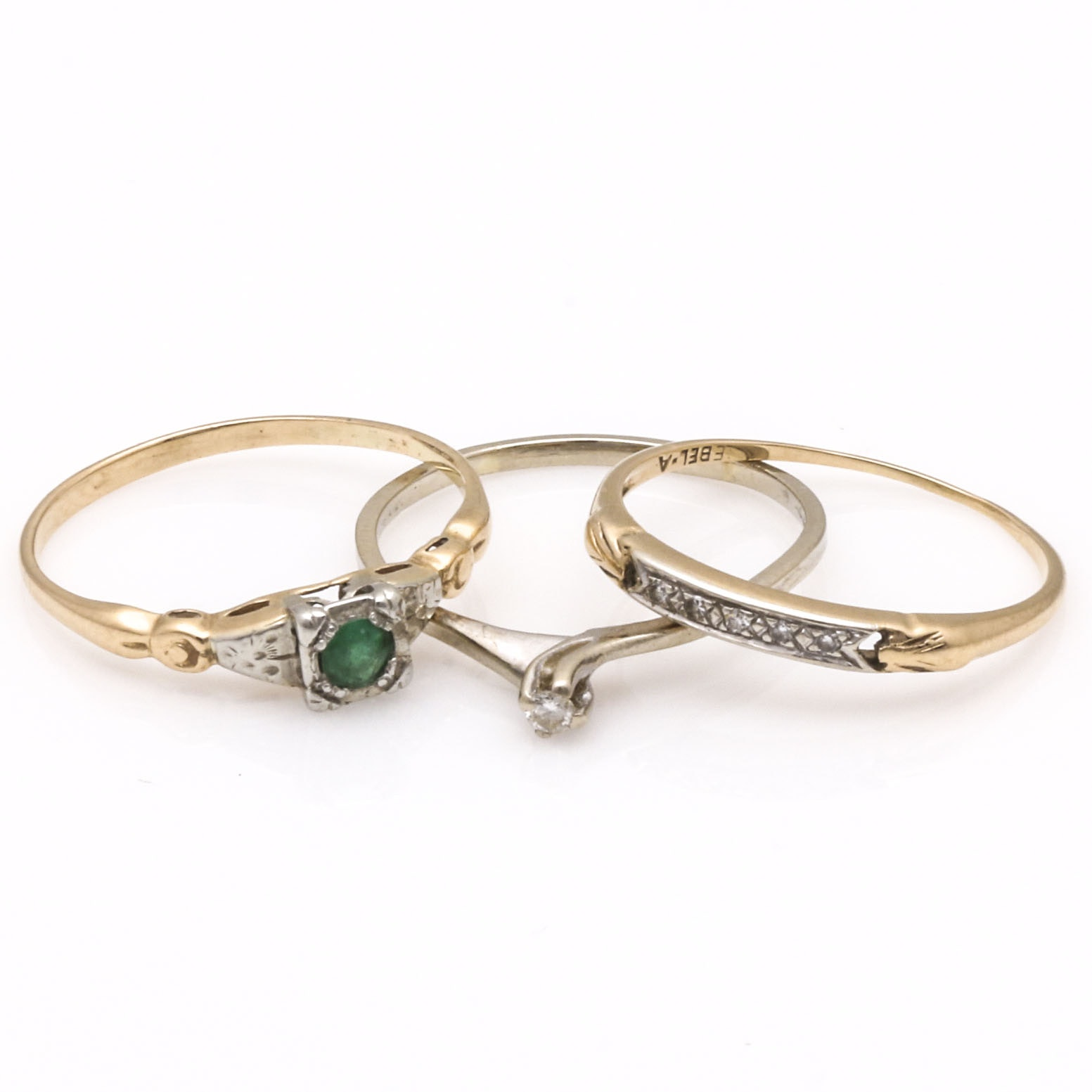 Three 14K Gold Diamond and Emerald Rings