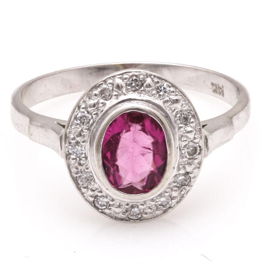 14K White Gold Diamond and Pink Tourmaline Ring