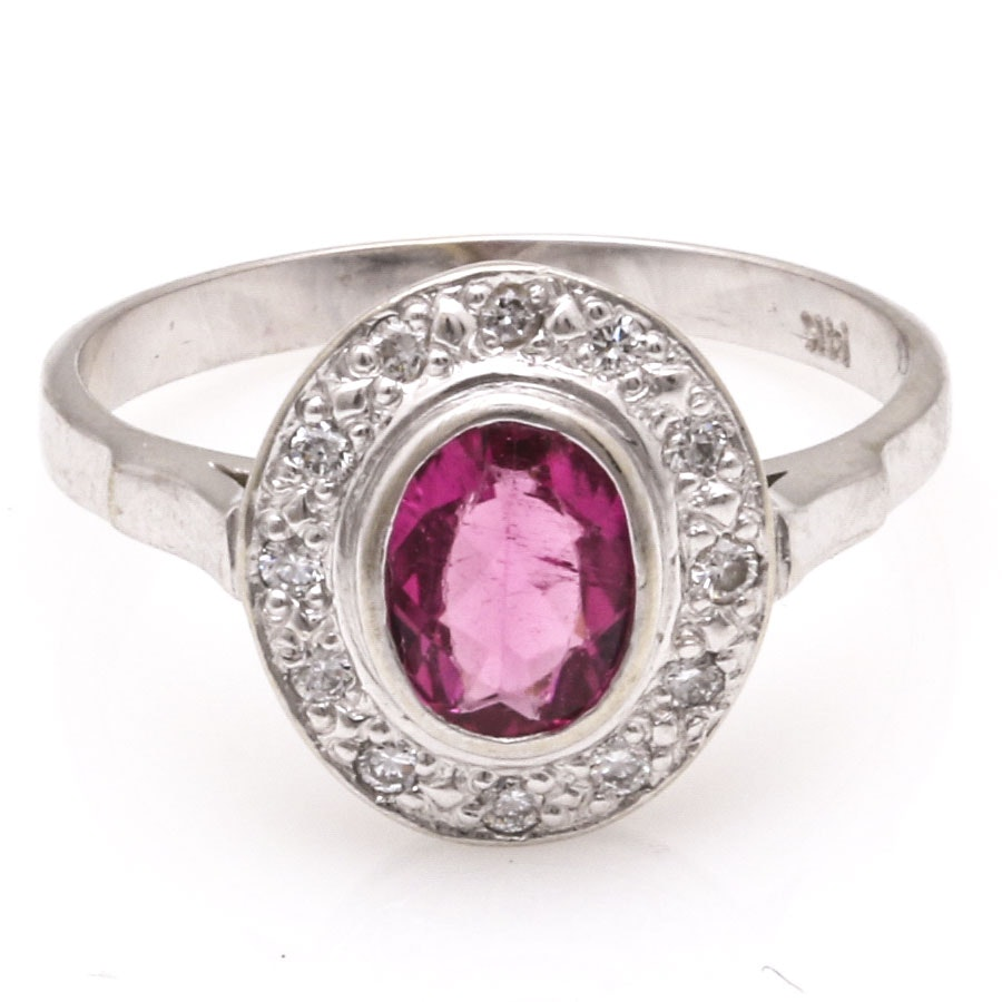 14K White Gold Diamond and Pink Tourmaline Ring